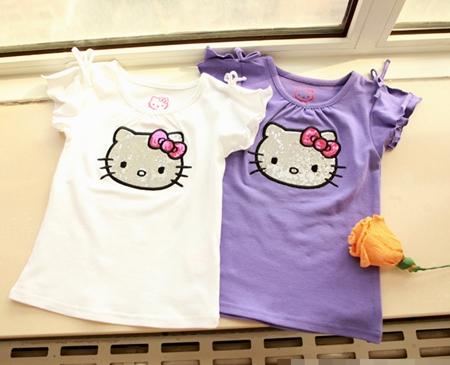 เสื้อแขนสั้น Hello Kitty สีม่วง (5 ตัว/pack)
