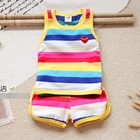 ชุดเสื้อและกางเกงลายขวาง-โทนสีเหลือง-(5-ตัว/pack)