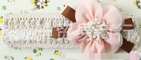 ผ้าคาดผมดอกไม้เก๋ๆ สีชมพู (3 ชิ้น/แพ็ค)