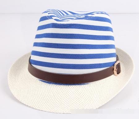 หมวกแฟชั่นเก๋ๆ ลายขวาง สีฟ้า (5 ใบ/แพ็ค)