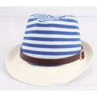 หมวกแฟชั่นเก๋ๆ-ลายขวาง-สีฟ้า-(5-ใบ/แพ็ค)