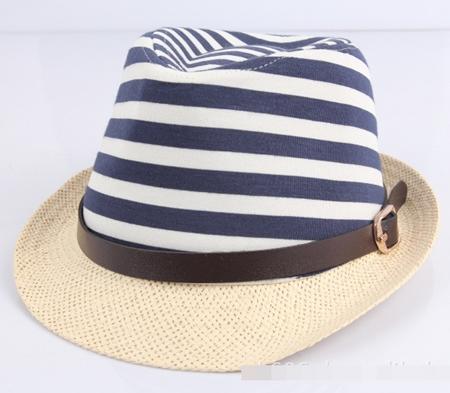 หมวกแฟชั่นเก๋ๆ ลายขวาง สีน้ำเงิน (5 ใบ/แพ็ค)