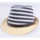 หมวกแฟชั่นเก๋ๆ-ลายขวาง-สีน้ำเงิน-(5-ใบ/แพ็ค)