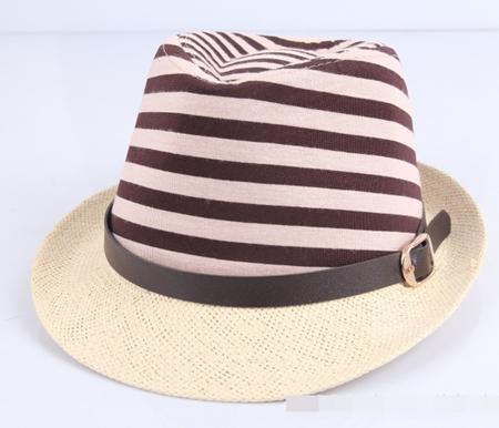 หมวกแฟชั่นเก๋ๆ ลายขวาง สีน้ำตาล (5 ใบ/แพ็ค)