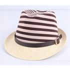 หมวกแฟชั่นเก๋ๆ-ลายขวาง-สีน้ำตาล-(5-ใบ/แพ็ค)