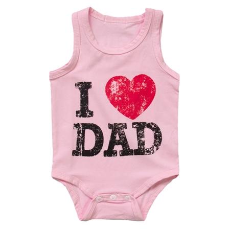 บอดี้สูท I Love Dad สีชมพู (8 ตัว/pack)