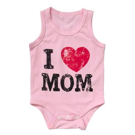 บอดี้สูท I Love Mom สีชมพู (8 ตัว/pack)