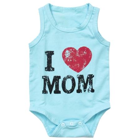 บอดี้สูท I Love Mom สีฟ้า (8 ตัว/pack)
