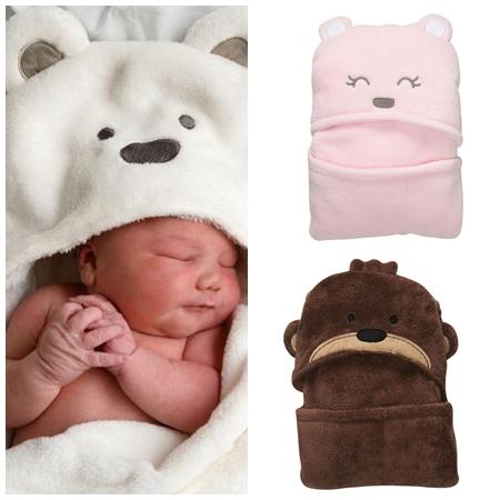 ผ้าห่มเด็กฮู๊ดหมีน้อยน่ารัก คละสี (6 ผืน/pack)