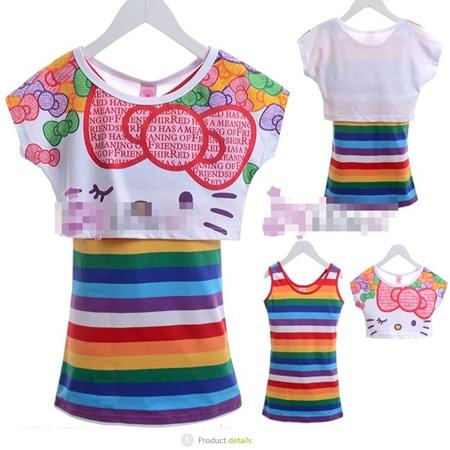 เสื้อแขนสั้น Hello Kitty สีรุ้ง (5size/pack)