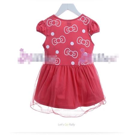 ชุดเดรสแขนสั้น Hello Kitty สีแดงแตงโม (5size/pack)