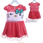 ชุดเดรสแขนสั้น-Hello-Kitty-สีแดงแตงโม-(5size/pack)