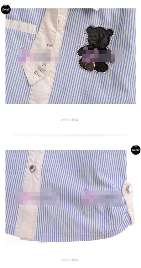 เสื้อเชิ๊ตแขนยาวลายทางหมีน้อย สีฟ้า (5size/pack)