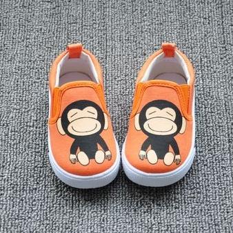 รองเท้าเด็กลายลิงยิ้ม สีส้ม (8 คู่/แพ็ค)