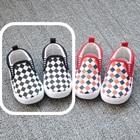 รองเท้าเด็ก-ลายตารางโทนสีดำ(8-คู่/แพ็ค)