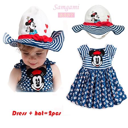 เซ็ทเดรสและหมวก Minnie Mouse สีกรม  (5 ตัว/pack)