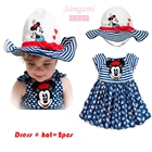 เซ็ทเดรสและหมวก-Minnie-Mouse-สีกรม--(5-ตัว/pack)