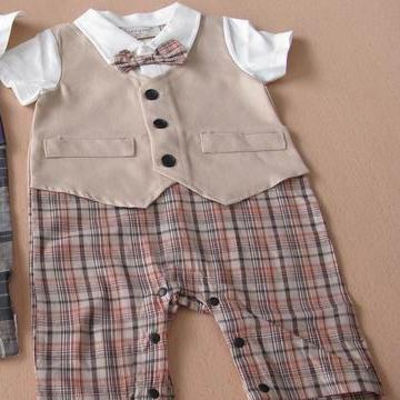 บอดี้สูทเด็กคุณชายอังกฤษ สีกากี (3 size/pack)