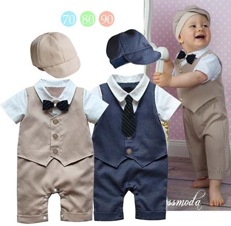 บอดี้สูทเด็กคุณชายน้อย สีน้ำเงิน (3 size/pack)