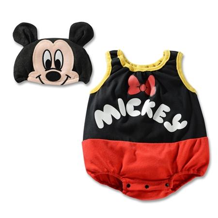 บอดี้สูทเด็ก Micky Mouse พร้อมหมวก (3 size/pack)