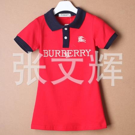 เดรสแขนสั้น Burberry สีแดง (5 ตัว/pack)