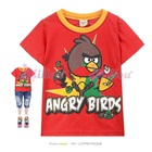 เสื้อยืดแขนสั้น-Angry-Bird-สีแดง-(6size/pack)