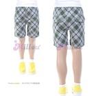 กางเกงขาสามส่วนลายตารางสีเทา-(5size/pack)