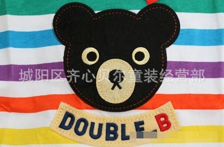 เสื้อยืดแขนสั้น Double B สีสายรุ้ง (5 ตัว/pack)