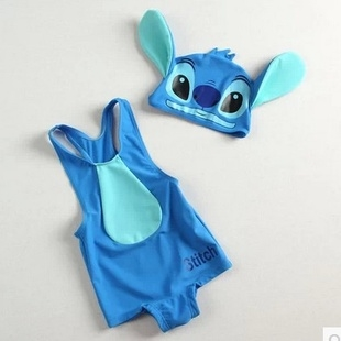 ชุดว่ายน้ำ Stitch สีฟ้าพร้อมหมวก (5 ตัว/pack)
