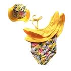 ชุดว่ายน้ำลายดอกไม้-สีเหลืองพร้อมหมวก(5-ตัว/pack)