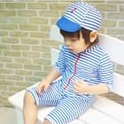 ชุดว่ายน้ำลายขวาง-สีฟ้าขาวพร้อมหมวก(5-ตัว/pack)