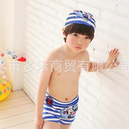 กางเกงว่ายน้ำ Micky สีฟ้าพร้อมหมวก(3 ตัว/pack)