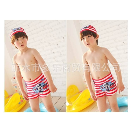 กางเกงว่ายน้ำ Micky สีแดง พร้อมหมวก(3 ตัว/pack)