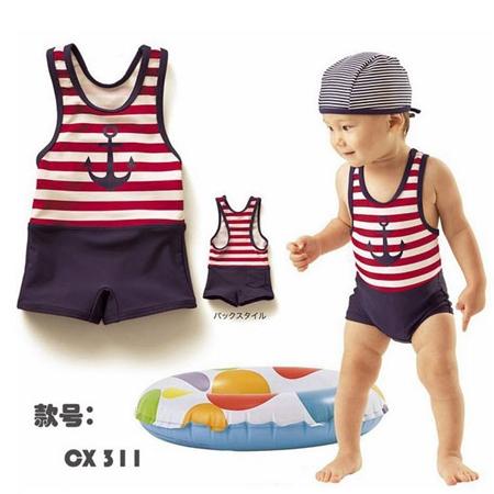 ชุดว่ายน้ำลายสมอเรือ พร้อมหมวก(5 ตัว/pack)