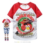 เสื้อยืดแขนสั้น-Angry-Bird-แขนสีแดง(5size/pack)