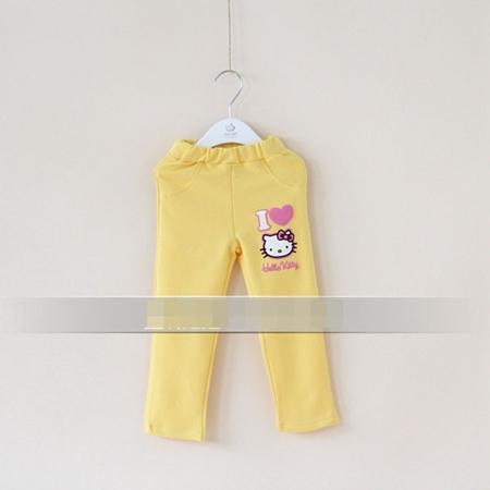 กางเกงเลกกิ้งขายาว Kitty สีเหลือง (5 ตัว /pack)