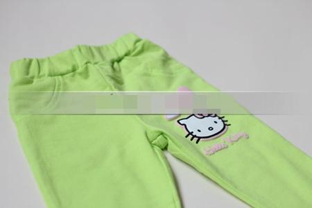 กางเกงเลกกิ้งขายาว Kitty สีเขียว (5 ตัว /pack)