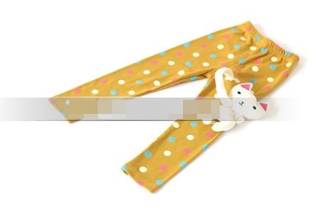 กางเกงเลกกิ้งขายาวแมวเหมียว สีเหลือง (5 ตัว /pack)