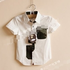 เสื้อเชิ๊ตเด็กแขนสั้นกระเป๋าทหาร-สีขาว(5-ตัว/pack)