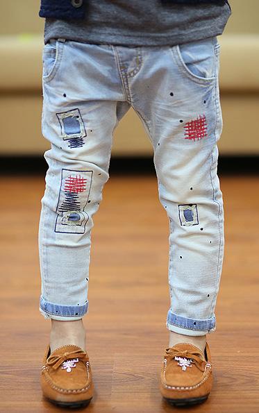 กางเกงยีนส์ขายาวลายปะแนวเซอร์ (5ตัว/pack)