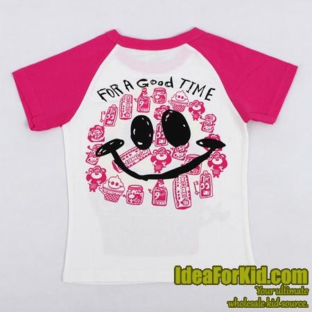 เสื้อยืด JNMING แขนสีชมพู (5size/pack)