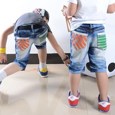 กางเกงยีนส์ขาสั้นระเป๋าส้มเขียว (4ตัว/pack)