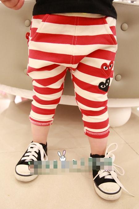กางเกงขายาวลายขวาง PLAY Comme สีแดง (5 ตัว/pack)