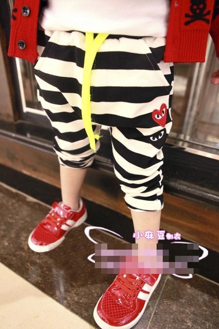กางเกงขายาวลายขวาง PLAY Comme สีดำ (5ตัว/pack)