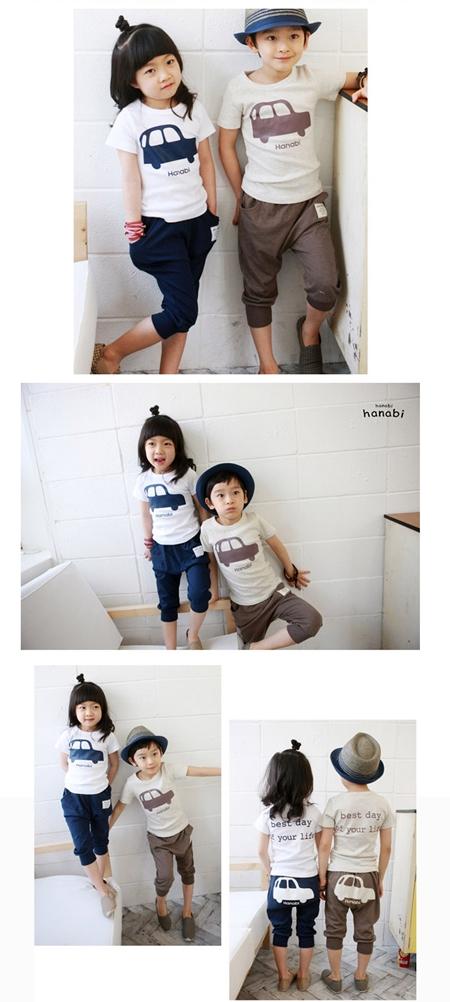 เซ็ทเสื้อกางเกงรถ Hanabi สีกรมท่า (5 ตัว/pack)