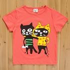 เสื้อแขนสั้นแมวคู่ซี้-สีแดง-(5size/pack)