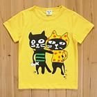 เสื้อแขนสั้นแมวคู่ซี้-สีเหลือง-(5size/pack)