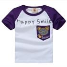 เสื้อแขนสั้น-Happy-Smile-สีขาวม่วง-(5ตัว/pack)
