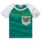 เสื้อแขนสั้น-Happy-Smile-สีเขียว-(5ตัว/pack)