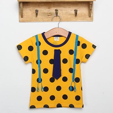 เสื้อแขนสั้ันลายจุดสายเอี๊ยม สีเหลือง (5ตัว/pack)